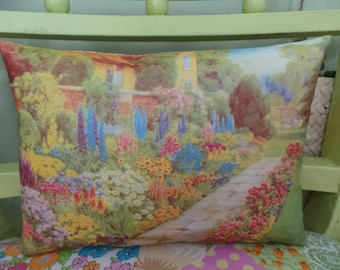 Hand printed garden cushion using an illustration from a 1938 Amateur Gardening magazine, floral cushion, cottage garden, vintage print