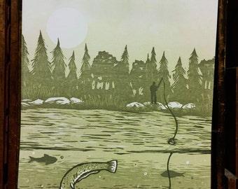 Woodcut Art Print - Gone Fishing