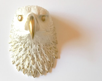 CUSTOM Eagle Head Large Faux Taxidermy animal head in WHITE with GOLD details / bird wall art / eagle wall art / farm house decor kids room