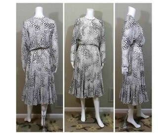 JACK BRYAN Designer Dress Black White Chiffon Size 10