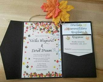 Birch tree fall leaves wedding invitation set