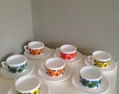 Arcopal cups and saucers  7 x retro vintage cups and saucers Arcopal France