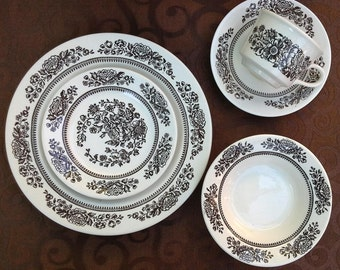 Holiday Sale: Beautiful Vintage Cavalier Ironstone Royal China Sussex - 24 Piece Set (Brown Flowers)