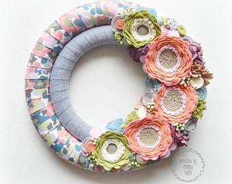 Double Wrapped Fabric Felt Wreath watercolor spring floral felt flowers, coral, green, navy Spring Home Decor, Door Wreath, Double Wreath