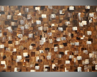 Painting Paintings Wall Art Brown Cream Canvas Art Acrylic Painting Art Deco Wall Decoration Squares Painting on Canvas 40 x 24 by ilonka