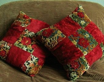 Antique Red Flowers Velour Square Pillows