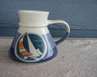 Vintage Wide Bottom No Spill Ceramic Coffee Mug, Nautical, Sailboat Design