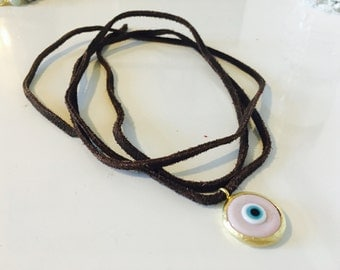Suede and Pink Evil Eye Wrap Necklace