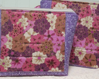 Set of 2 large handmade quilted purse cosmetic toiletries gadgets bags, floral with gold metallic, purples, mauve, taupe, pinks