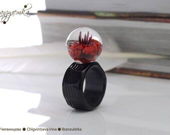 Ring Poppy ball - glass transparent artisan lampwork red flower