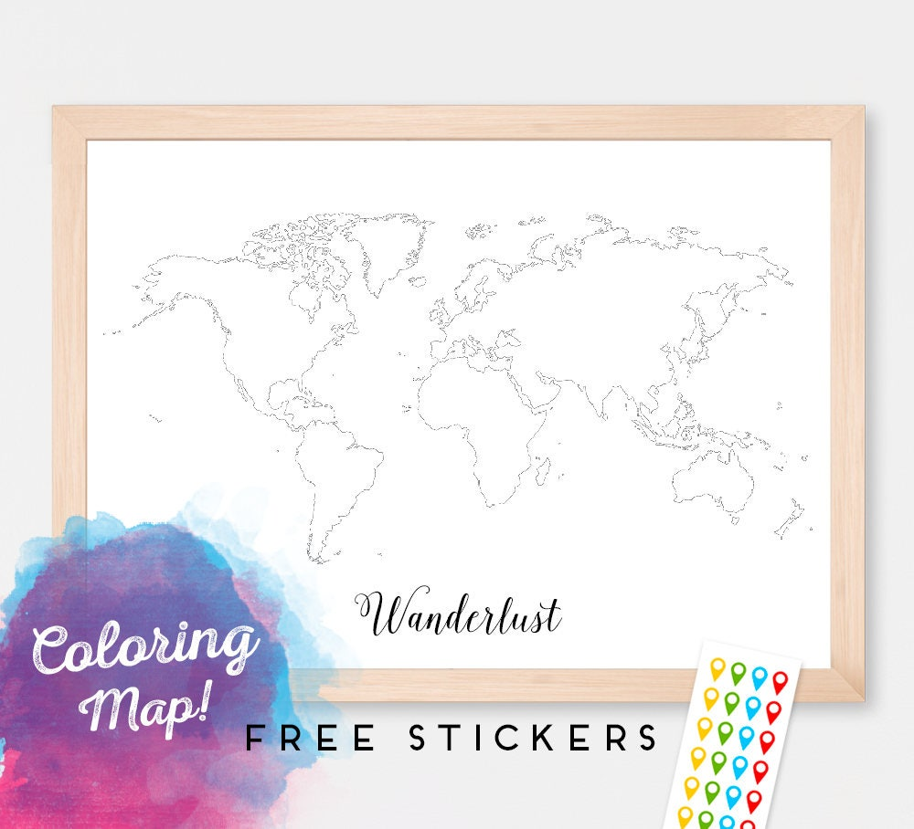 custom blank coloring world map print poster outline map of