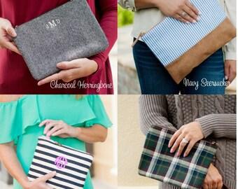 Monogram Clutch, Monogrammed Makeup Bag, Cosmetic Bag, Monogrammed Bridesmaid Gift, Makeup Bag, Toiletry Bag, Seersucker, Herringbone, Plaid
