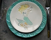 Mermaid Ceramic Plate Turquoise Lace Dessert Plate Ocean Serving Plate Trinket Dish - Set of 2