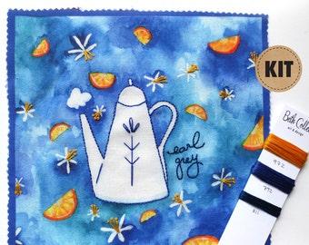 Embroidery Pattern, Craft Kit, DIY Home Decor, Earl Grey Tea Art, Bergamot Kitchen Art, Blue Embroidery Hoop Art, Creative Gifts for Friends