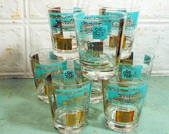Retro Mid Century Aqua and Gold Highball Rocks Glasses Set of 8