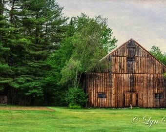 Maine Brown Barn -  Nature, art, landscape, barn, farm, clouds, woods, Maine, fine art, wall art, photography, New England
