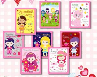 instant download strawberry shortcake valentines day cards strawberry shortcake valentine cards kids valentine