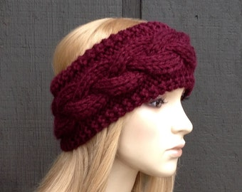 Cable Knit Headband Head Wrap Earwarmer Winter Burgundy Cranberry