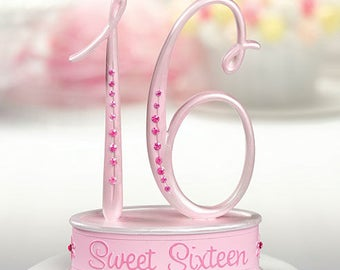 Sweet 16 Cake Toppers, Pink Sweet 16 Birthday Cake Top, 16th Birthday Cake Top