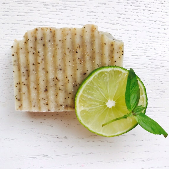 Cofffee Scrub- Basil and Lime Handmade Coffee soap - Gardener's Soap -  Kitchen/Garden - all natural handmade soap - vegan - coffee soap