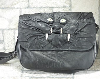 Mimic Purse With Face Messenger Bag Cross Body Monster Harry Potter Labyrinth Black Leather Goblin Troll