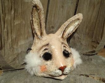 Alice in Wonderland Paper mache rabbit mask bunny mask rabbit costume bunny costume Halloween mask Masquerade mask