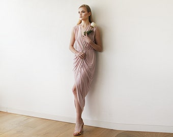 Blush Pink wrap gown , Pink maxi formal tulip dress , Sleeveless summer maxi gown 1055