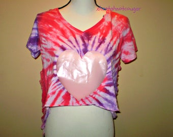 Shredded Tie Dye Cotton Candy Cutout Heart Crop Shirt DAMAGED