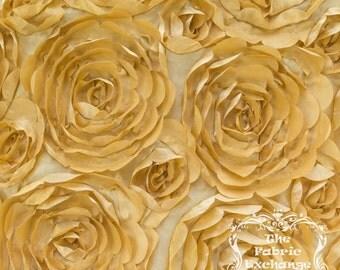 Satin Petal Rosette Gold 52 Inch Fabric by the Yard - 1 yard