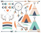Clipart - Tribal Elements (3) / American Indian Clipart, native American, feathers, dream catcher, boho / bohemian clipart, deer antlers