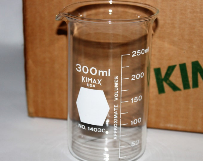 Nine (9) Used Tall-Form 300 ml Kimax Berzelius Beakers – Excellent for Titrations