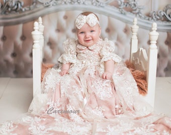 Christening Gown, Baptism dress, Girls Christening Gown set with pink underlay
