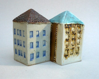 Miniature House , Turquoise Roof Building , Architecture , Collectible House ,Ceramic Sculpture