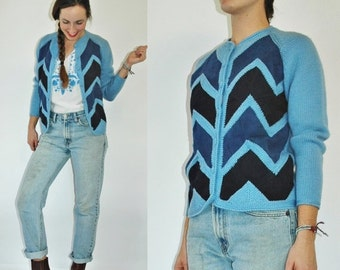 SHIPPING DELAY 1960s Baby Blue Wool Knit Chevron Suede Panel Cardigan Sweater