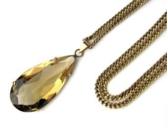 Vintage Necklace, Large Pear Cut Smoky Citrine Necklace 14k c. 1970, Vintage Pendant, Vintage Citrine, Vintage Jewelry