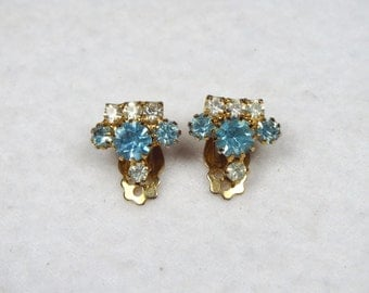 Vintage Lisner Signed Clip on Earrings Clear and Light Blue Sparkly Very Pretty - Plus Free US Shipping