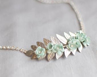 Silver Flower Bridal Sash, Wedding Sash with Mint Flowers and Crystals, Laurel Leaf Sash, Thin Wedding Sash with Blue Flowers, Bridal Belt