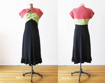 1930s Dress / Late 30s Early 40s Vintage Dress / Bow Bust Tri Color Pink Green Black Dress Small
