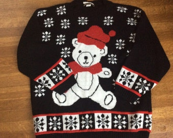 Ugly Christmas Sweater / Vintage Christmas Sweater / 1980's Christmas Sweater