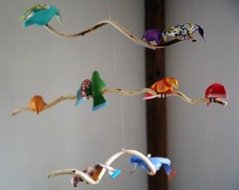 Custom Fabric Bird Mobile - 12 bird sculpture - Kinetic Art