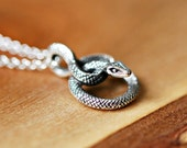 Snake necklace, sterling silver snake pendant, coiled serpent, lucky serpent charm, sexy necklace, reptile pendant, crashandduchess, slither