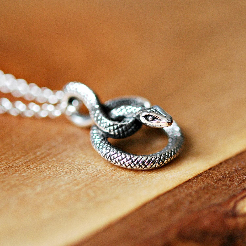 Snake Necklace Sterling Silver Snake Pendant Coiled Snake