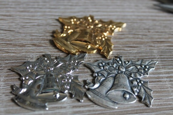 Vintage Brass Christmas bells stampings, Patina Gold, Silver, Silver aged,  American Made Brass Stampings, Discontinued One of A kind