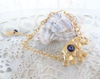 Evil Eye Bracelet, Blue Evil Eye Bracelet, Elephant Bracelet, Turkish Jewelry Style Bracelet, Gift For Mothers Day, Best Friend Birthday,