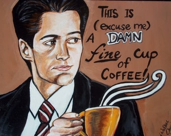 Set of Two Prints --- Special Agent Dale Cooper & Audrey Horne Twin Peaks Portrait Fine Art Cult Television Fan Art  Damn Fine Coffee Print