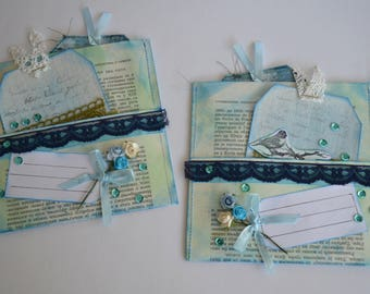 A Set of Two Book Page Pockets with Tags