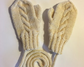 Hand knitted 100% wool Toddler mittens with string. Wool knit infant mittens. Size 12 -24 months old. winter outfit