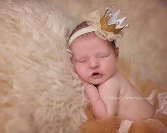 Newborn cown, baby crown, gold crown, newborn photo prop, baby photo prop, newborn headband, princess headband, birthday headband, gold band