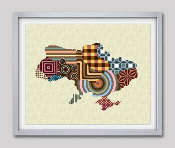 Ukraine Map Print, Kiev Art Print Poster Wall Decor, Ukrainian Art, Ukrainian Gift, Map Decor, Geometric Art, Cubist Art