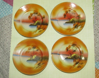 vintage Japan doll tea set plates  set of 4 plates windmill scene
